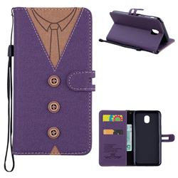 Mens Button Clothing Style Leather Wallet Phone Case for Samsung Galaxy J5 2017 J530 Eurasian - Purple