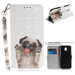 Pug Dog 3D Painted Leather Wallet Phone Case for Samsung Galaxy J5 2017 J530 Eurasian