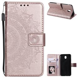 Intricate Embossing Datura Leather Wallet Case for Samsung Galaxy J5 2017 J530 Eurasian - Rose Gold