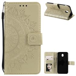 Intricate Embossing Datura Leather Wallet Case for Samsung Galaxy J5 2017 J530 Eurasian - Golden