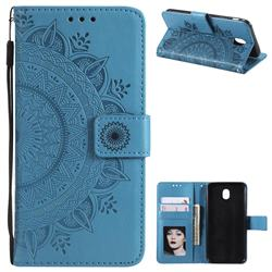 Intricate Embossing Datura Leather Wallet Case for Samsung Galaxy J5 2017 J530 Eurasian - Blue