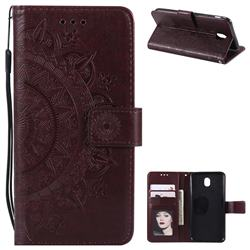 Intricate Embossing Datura Leather Wallet Case for Samsung Galaxy J5 2017 J530 Eurasian - Brown