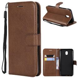 Retro Greek Classic Smooth PU Leather Wallet Phone Case for Samsung Galaxy J5 2017 J530 Eurasian - Brown