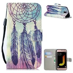 Feather Wind Chimes 3D Painted Leather Wallet Phone Case for Samsung Galaxy J5 2017 J530 Eurasian