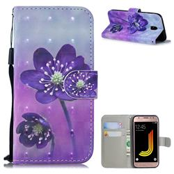 Purple Flower 3D Painted Leather Wallet Phone Case for Samsung Galaxy J5 2017 J530 Eurasian