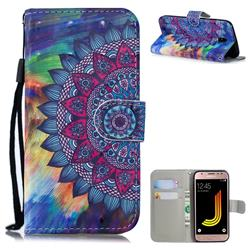 Oil Painting Mandala 3D Painted Leather Wallet Phone Case for Samsung Galaxy J5 2017 J530 Eurasian