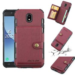 Brush Multi-function Leather Phone Case for Samsung Galaxy J5 2017 J530 Eurasian - Wine Red