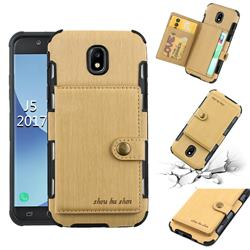 Brush Multi-function Leather Phone Case for Samsung Galaxy J5 2017 J530 Eurasian - Golden