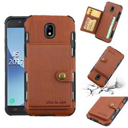 Brush Multi-function Leather Phone Case for Samsung Galaxy J5 2017 J530 Eurasian - Brown