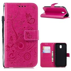 Intricate Embossing Butterfly Circle Leather Wallet Case for Samsung Galaxy J5 2017 J530 Eurasian - Red