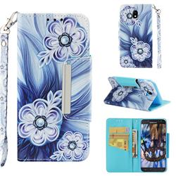 Button Flower Big Metal Buckle PU Leather Wallet Phone Case for Samsung Galaxy J5 2017 J530 Eurasian