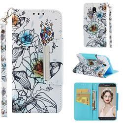 Fotus Flower Big Metal Buckle PU Leather Wallet Phone Case for Samsung Galaxy J5 2017 J530 Eurasian