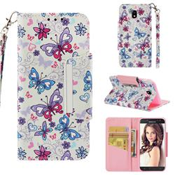 Colored Butterfly Big Metal Buckle PU Leather Wallet Phone Case for Samsung Galaxy J5 2017 J530 Eurasian