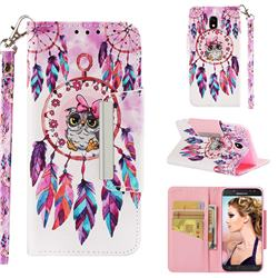 Owl Wind Chimes Big Metal Buckle PU Leather Wallet Phone Case for Samsung Galaxy J5 2017 J530 Eurasian