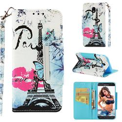 Lip Tower Big Metal Buckle PU Leather Wallet Phone Case for Samsung Galaxy J5 2017 J530 Eurasian