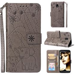 Embossing Fireworks Elephant Leather Wallet Case for Samsung Galaxy J5 2017 J530 Eurasian - Gray