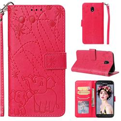 Embossing Fireworks Elephant Leather Wallet Case for Samsung Galaxy J5 2017 J530 Eurasian - Red