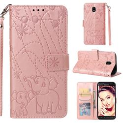 Embossing Fireworks Elephant Leather Wallet Case for Samsung Galaxy J5 2017 J530 Eurasian - Rose Gold