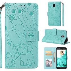 Embossing Fireworks Elephant Leather Wallet Case for Samsung Galaxy J5 2017 J530 Eurasian - Green