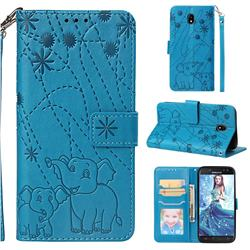 Embossing Fireworks Elephant Leather Wallet Case for Samsung Galaxy J5 2017 J530 Eurasian - Blue