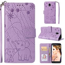 Embossing Fireworks Elephant Leather Wallet Case for Samsung Galaxy J5 2017 J530 Eurasian - Purple