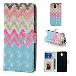 Color Wave 3D Painted Leather Phone Wallet Case for Samsung Galaxy J5 2017 J530 Eurasian