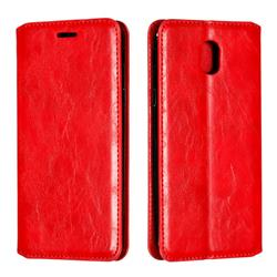 Retro Slim Magnetic Crazy Horse PU Leather Wallet Case for Samsung Galaxy J5 2017 J530 Eurasian - Red
