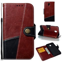 Retro Magnetic Stitching Wallet Flip Cover for Samsung Galaxy J5 2017 J530 Eurasian - Dark Red