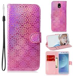 Laser Circle Shining Leather Wallet Phone Case for Samsung Galaxy J5 2017 J530 Eurasian - Pink