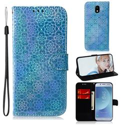 Laser Circle Shining Leather Wallet Phone Case for Samsung Galaxy J5 2017 J530 Eurasian - Blue