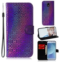 Laser Circle Shining Leather Wallet Phone Case for Samsung Galaxy J5 2017 J530 Eurasian - Purple