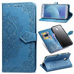 Embossing Imprint Mandala Flower Leather Wallet Case for Samsung Galaxy J5 2017 J530 Eurasian - Blue