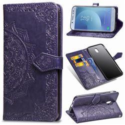 Embossing Imprint Mandala Flower Leather Wallet Case for Samsung Galaxy J5 2017 J530 Eurasian - Purple
