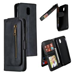 Multifunction 9 Cards Leather Zipper Wallet Phone Case for Samsung Galaxy J5 2017 J530 Eurasian - Black