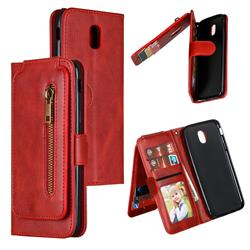 Multifunction 9 Cards Leather Zipper Wallet Phone Case for Samsung Galaxy J5 2017 J530 Eurasian - Red