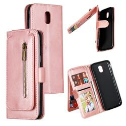 Multifunction 9 Cards Leather Zipper Wallet Phone Case for Samsung Galaxy J5 2017 J530 Eurasian - Rose Gold