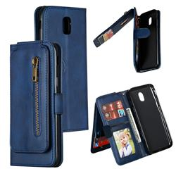 Multifunction 9 Cards Leather Zipper Wallet Phone Case for Samsung Galaxy J5 2017 J530 Eurasian - Blue