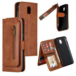 Multifunction 9 Cards Leather Zipper Wallet Phone Case for Samsung Galaxy J5 2017 J530 Eurasian - Brown