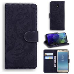 Intricate Embossing Tiger Face Leather Wallet Case for Samsung Galaxy J5 2017 J530 Eurasian - Black