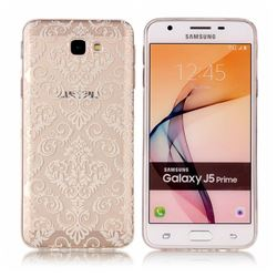 White Lace Flowers Super Clear Soft TPU Back Cover for Samsung Galaxy J5 Prime