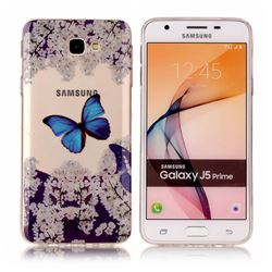 Blue Butterfly Flower Super Clear Soft TPU Back Cover for Samsung Galaxy J5 Prime