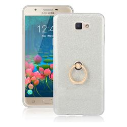 Luxury Soft TPU Glitter Back Ring Cover with 360 Rotate Finger Holder Buckle for Samsung Galaxy J5 Prime - White