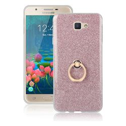 Luxury Soft TPU Glitter Back Ring Cover with 360 Rotate Finger Holder Buckle for Samsung Galaxy J5 Prime - Pink
