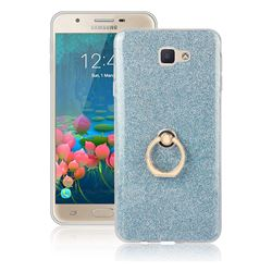 Luxury Soft TPU Glitter Back Ring Cover with 360 Rotate Finger Holder Buckle for Samsung Galaxy J5 Prime - Blue
