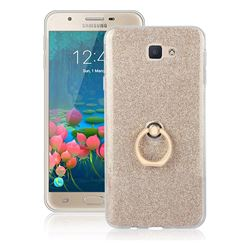 Luxury Soft TPU Glitter Back Ring Cover with 360 Rotate Finger Holder Buckle for Samsung Galaxy J5 Prime - Golden