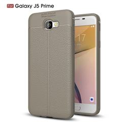 Luxury Auto Focus Litchi Texture Silicone TPU Back Cover for Samsung Galaxy J5 Prime - Gray