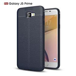 Luxury Auto Focus Litchi Texture Silicone TPU Back Cover for Samsung Galaxy J5 Prime - Dark Blue