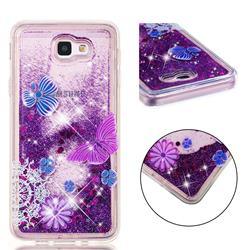Purple Flower Butterfly Dynamic Liquid Glitter Quicksand Soft TPU Case for Samsung Galaxy J5 Prime