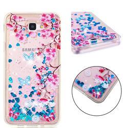 Blue Plum Blossom Dynamic Liquid Glitter Quicksand Soft TPU Case for Samsung Galaxy J5 Prime
