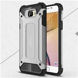 King Kong Armor Premium Shockproof Dual Layer Rugged Hard Cover for Samsung Galaxy J5 Prime - Silver Grey